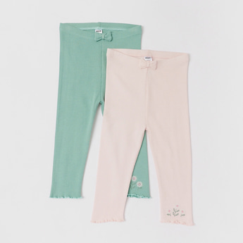 Set of 2 - Textured Full Length Leggings with Bow Accent