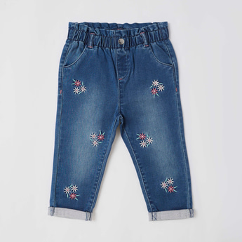 Textured Jeans with Embroidery and Pockets