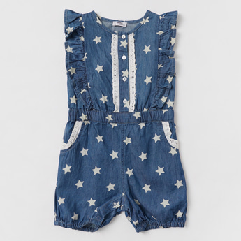 All-Over Star Print Playsuit with Round Neck and Cap Sleeves