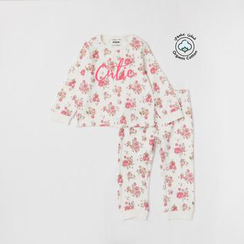 Set of 2 - All-Over Floral Print Sweatshirt and Jog Pants