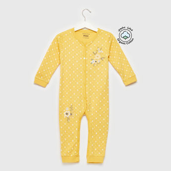 Floral Embroidered Detail Sleepsuit with Long Sleeves