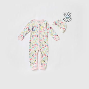 Floral Print Embroidered Sleepsuit and Cap Set