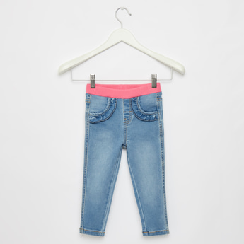 Full Length Solid Jeans with Pockets and Elasticised Waistband