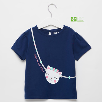 Cat Friend Print T-shirt with Round Neck and Short Sleeves