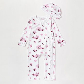 Floral Print Sleepsuit with Cap