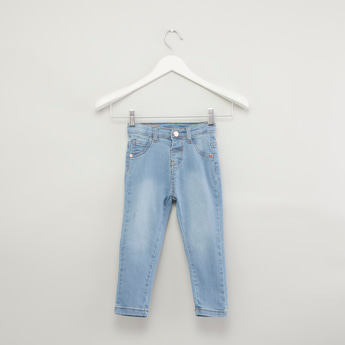 Solid Jeans with Button Closure and 5-Pockets