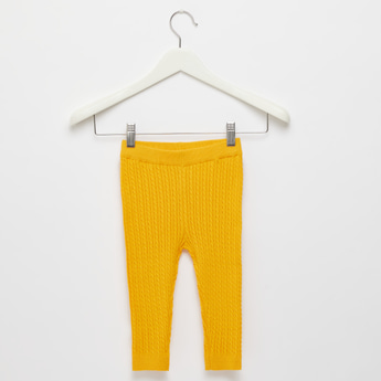 Textured Cable Sweater Leggings with Elasticised Waistband