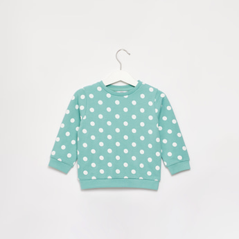 Polka Dots Print Sweat Top with Round Neck and Long Sleeves