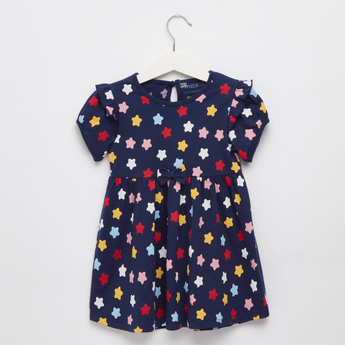 Star Print Dress with Round Neck and Short Sleeves