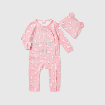 All-Over Cat Print Sleepsuit with Applique Detail Cap