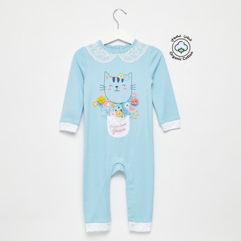 Graphic Print Sleepsuit with Long Sleeves and Pocket Detail