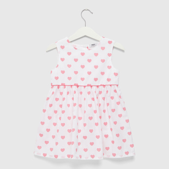 All-Over Heart Print Sleeveless Dress with Round Neck
