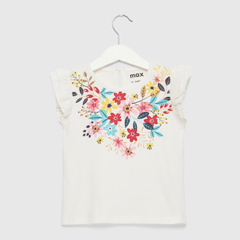 Floral Print T-shirt with Round Neck and Keyhole Closure