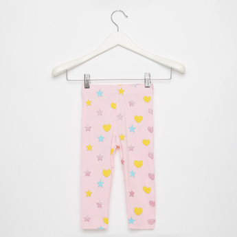 Skinny Fit All-Over Print Mid-Rise Leggings with Elasticised Waistband