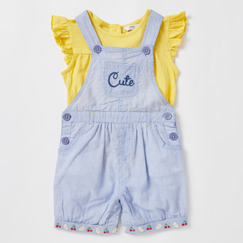 Solid Round Neck Top with Striped Dungarees