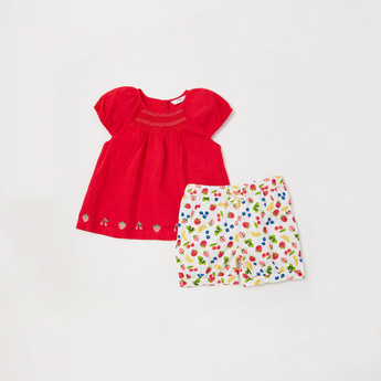 Embroidered Detail Top with Fruit Print Shorts