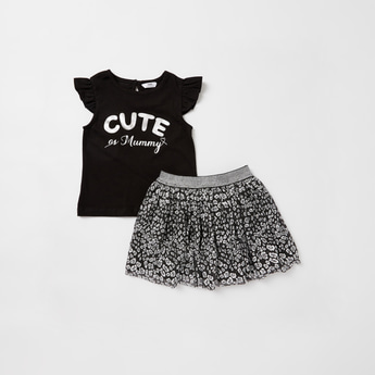 Foil Print Cap Sleeves T-shirt with Skirt Set