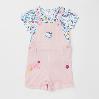 Hello Kitty All-Over Print T-shirt with Textured Dungaree Set