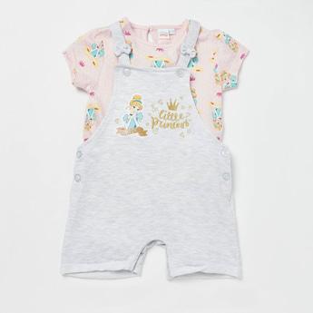 All-Over Princess Print T-shirt with Dungaree Set