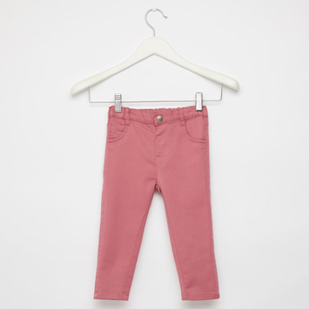 Comfort Fit Full Length Solid Jeans with 5-Pockets and Button Closure