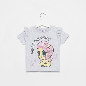 My Little Pony Print Short Sleeves T-shirt with Ruffle Detail