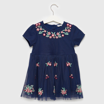 Floral Embroidered Dress with Short Sleeves and Mesh Detail