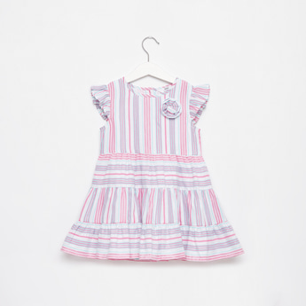 Striped Knee Length Tiered Dress with Cap Sleeves and Floral Applique