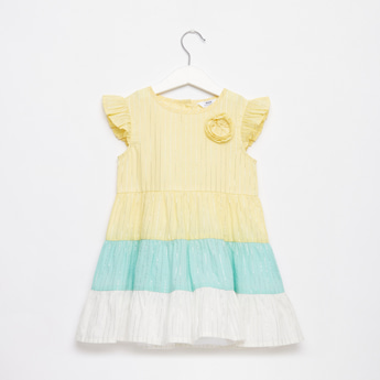 Striped Tiered Dress with Cap Sleeves and Flower Applique Detail