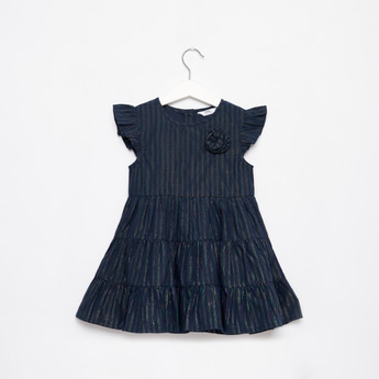 Striped Tiered Dress with Floral Applique and Cap Sleeves
