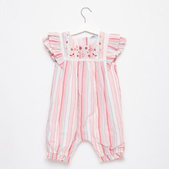Embroidered Striped Romper with Round Neck and Cap Sleeves