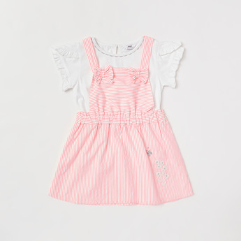 Solid Round Neck T-shirt and Striped Pinafore Set
