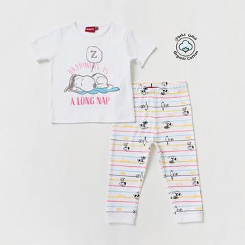 Snoopy Dog Print Short Sleeves T-shirt and Full-Length Pyjama Set
