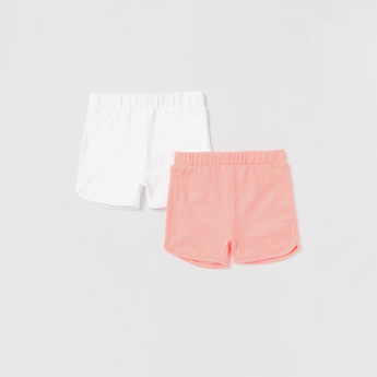Set of 2 - Solid Shorts with Elasticised Waistband