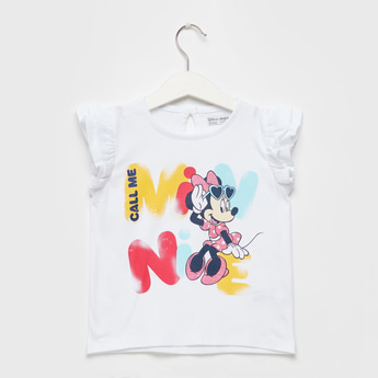 Minnie Mouse Graphic Print T-shirt with Round Neck and Frill Sleeves