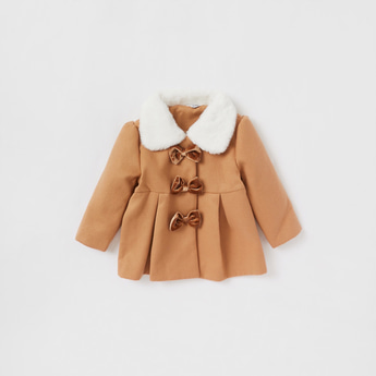 Plush Collared Coat with Bow Applique and Long Sleeves