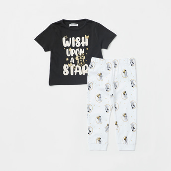 Minnie Mouse Graphic Print Short Sleeves T-shirt and Pyjama Set