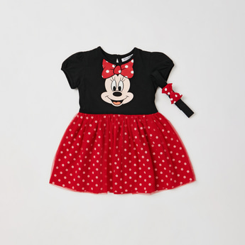 Minnie Mouse Graphic Print Dress with Bow Applique Detail Headband