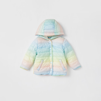 Solid Puffer Jacket with Hood and Snap Button Closure
