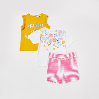 Printed 3-Piece Round Neck T-shirt and Shorts Set