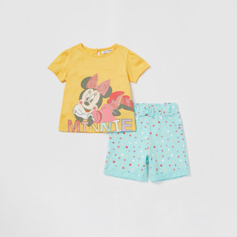 Minnie Mouse Print T-shirt and Contrast Shorts Set