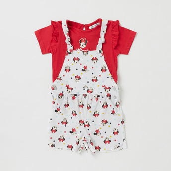 Minnie Mouse Themed T-shirt and Dungaree Set