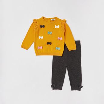 Bow Detail Sweater and Jog Pants Set