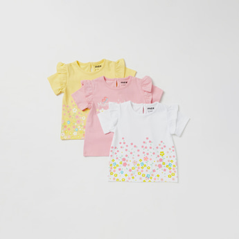 Set of 3 - Printed T-shirt with Keyhole Closure and Short Sleeves