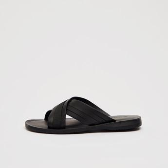 Criss Cross Strap Slip On Sandals