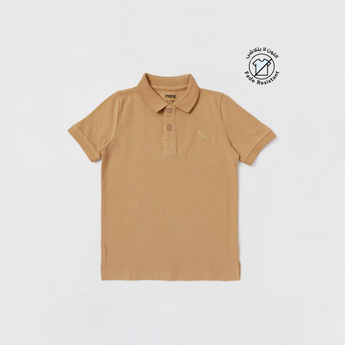 Solid Polo T-shirt with Embroidery and Short Sleeves