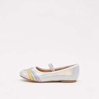 Glitter Detail Slip-On Ballerinas with Cloud and Rainbow Applique