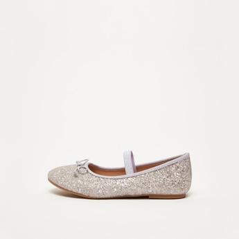 حذاء باليرينا بارز الملمس بجليتر وفيونكة