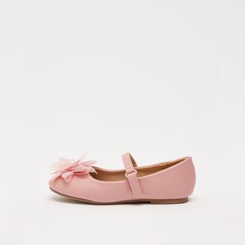 Solid Round Toe Ballerinas with Floral Applique