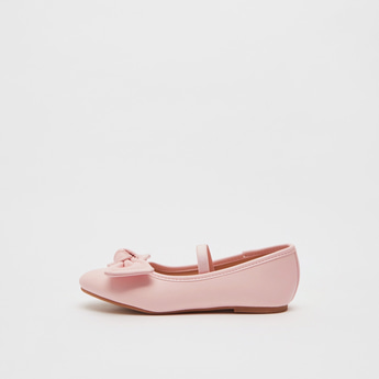 Solid Ballerinas with Bow Applique and Elasticised Strap