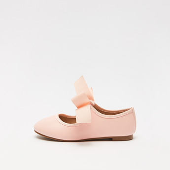 Solid Round Toe Ballerinas with Bow Applique Elasticated Strap